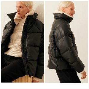 H&M Black Faux Leather Puffer Padded Jacket XS